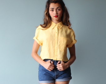 linen crop top / button up shirt / yellow blouse / 1980s / small - medium