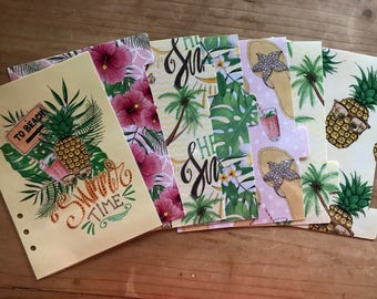 Tropical summer planner dividers. Dashboard plus 6 tabbed dividers. Available for pocket, personal, A5 planners. Mini, classic happy planner