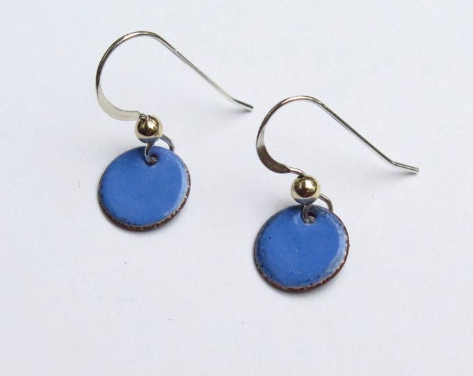 Blue - Copper Enamel - Short Dangle Earring - Dainty Enamel Drop - Handmade - Sterling - Tiny Circle - Miniature - Free Shipping 1st Clas