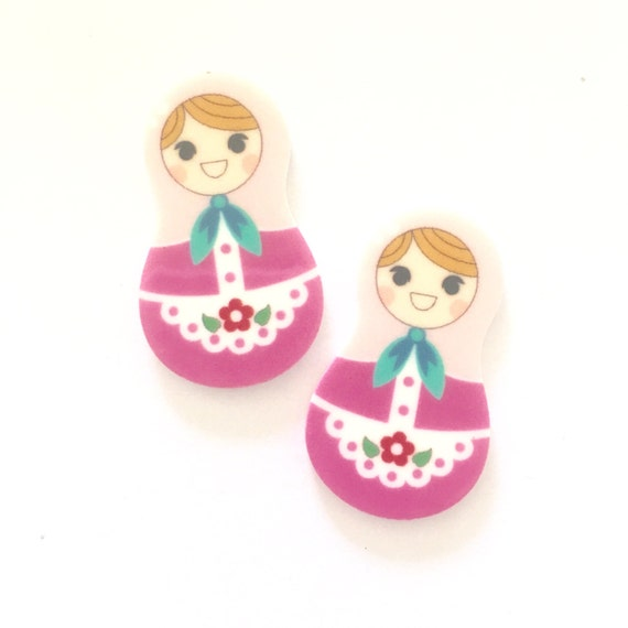 Laser Cut Supplies-2 Pieces.20mm Russian Doll Pink Charms-Laser Cut Acrylic-Jewelry Supplies-Little Laser Lab.Online Laser Cutting Australia