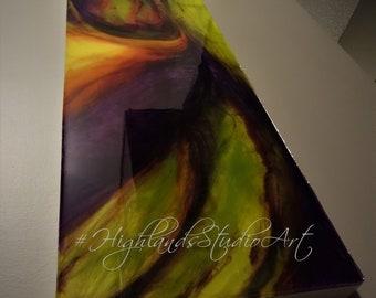 The Twist 12X48X1.75 Resin Epoxy Art on Wood Panel, Ready to Hang, Purple, Apple Green, Orange & Yellow, Floral, Contemporary Art, Modern