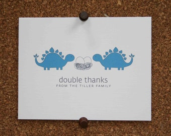 Dinosaur Triplet Baby Thank You Cards. Triplet Shower Thank You. Triplets Thank Yous. Personalized. Eggs in Nest. Stegosaurus (Set of 10)