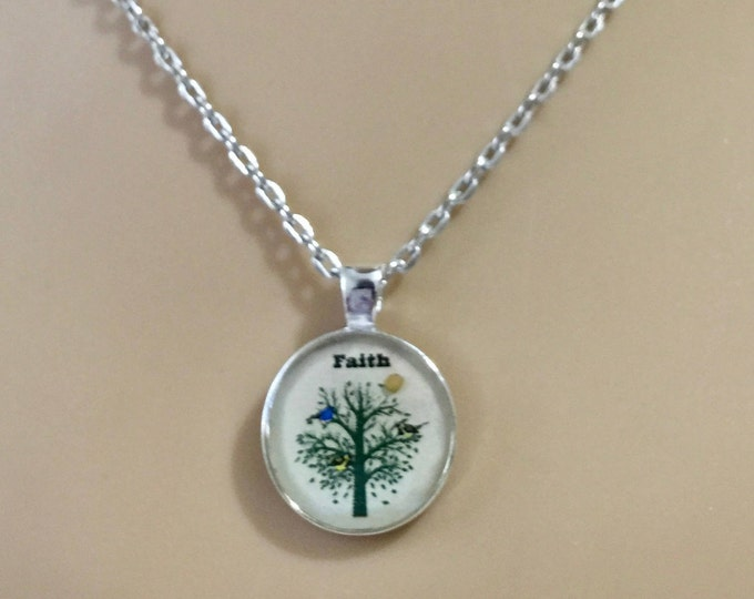 Mustard Seed Necklace with silver chain and real mustard seed, Cream white and SilverTree of Life Necklace, Matthew 17:20, Faith gift