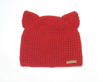 Cat Ear Hat, Red Beanie, Animal Ear Hat, Cat Hat, Winter Hat, Kitty Hat, Teen Hat, Girls Winter Outfit, Womens Hat, Cat Beanie, Crochet Hat