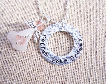 Custom Upcycled hammered angel handstamped pendant necklace
