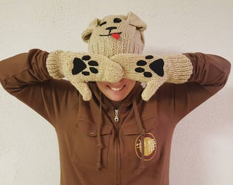 Dog Hat and Paw-Print Gloves