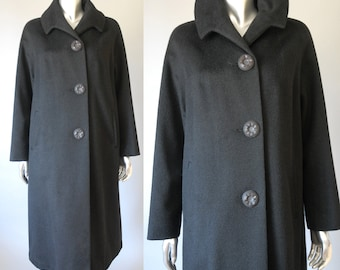 vintage 1960s cashmere coat   vintage black cashmere coat   vintage 60s wool coat