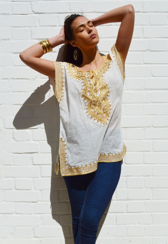 Summer gifts- Asmahan Style White with Gold Embroidery Tunic-resortwear, birthday, beach wedding, bridesmaid gifts, Ramadan, Eid