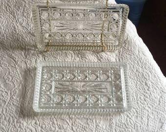 Vintage Glass Cut Tray