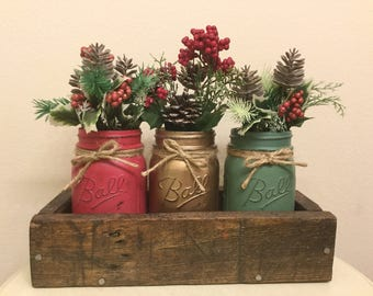 Farmhouse Christmas. Christmas decor. Christmas centerpiece. Holiday decor. mason jars. Christmas table. Christmas set. Holiday table decor.