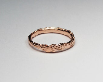 Long Island Solid Rose OR White Gold Twig Ring