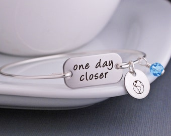 One Day Closer Bracelet, Deployment Jewelry, Military Deployment Bracelet, Personalized, Military Wife