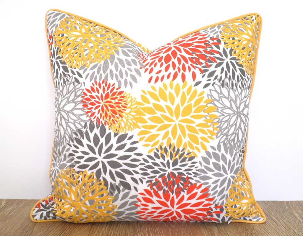 Yellow outdoor pillow cover 18x18 floral decor colorful