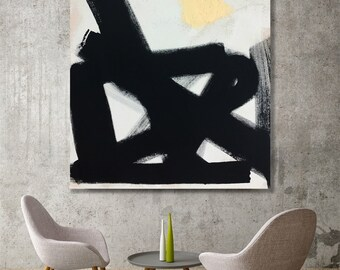 Black and White Abstract Canvas Painting - original art