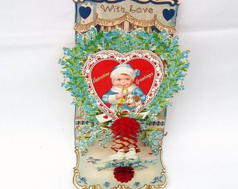 Antique Valentine Card | Victorian Valentine | Pop Up Card | Valentine Postcard | German Valentine | Die Cut Card