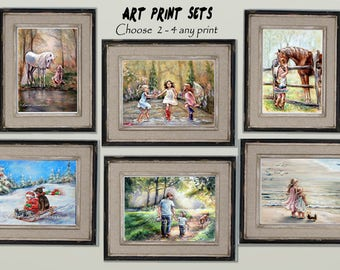 Art print Set Nursery, Choose  2 - 4 any art in my shop, signed titled,  kids room, living room, wall art,  Laurie Shanholtzer