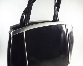 Black Patent Leather Handbag, Mod Black Bag, Black Purse, Vintage Black and White Handbag