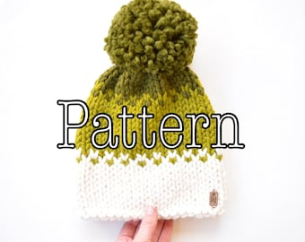 Knitting PATTERN,  Ombré Knitted Hat, Knitting pattern, Ombre Knitting Pattern, Size Adult || The Autumn Ombre Slouchy