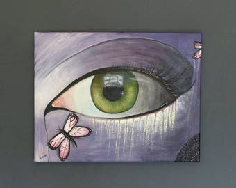 Butterfly Eye Painting Contemporary Glitter Surreal Fine Art Acrylic Nature Artwork Original Artwork Canvas 45.5cm x 35.5cm Jasmine Terri