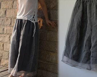 279---Two Layers Silk Organza Maxi Skirt Pants, Made to Order.