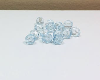 15 SKY Pale Sapphire Faceted Czech Round, 8mm SKY BLUE, Faceted, Czech Bead, Round Beads, Supplies, Jewelry Making, Bead Supplies