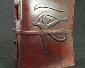 EYE of HORUS Handmade Leather Journal Diary - Pagan Wicca Book of Shadows