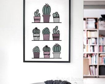 Stylish green cartoon catus cacti nature plant modern art canvas art print poster picture home decor wall art