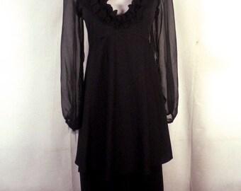 vtg 70s Rags by Kressandra black Sheer Sleeve Ruffled Layered Dress Empire sz 9