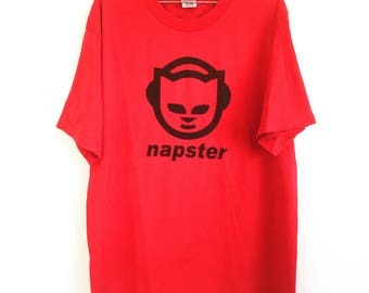 NAPSTER MUSIC logo t shirt xl apple macintosh microsoft computers heavyweight vintage t shirt