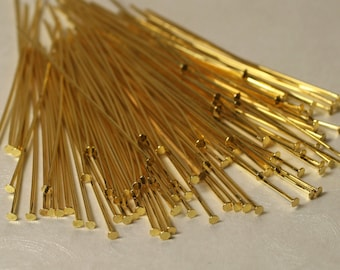 Gold plated head pin 2 inch long 20g thick, 100 pcs (item ID XMHC00593ABE)