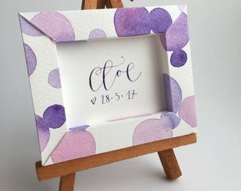 Magnet frame bubbles, watercolor card, with small personalized message 9, 5x8