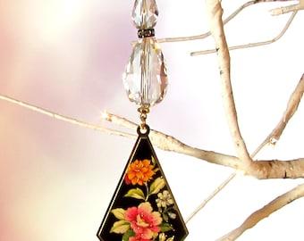 Crystal Sun Catcher, Christmas Decoration, Black Floral Drop, 1S-49