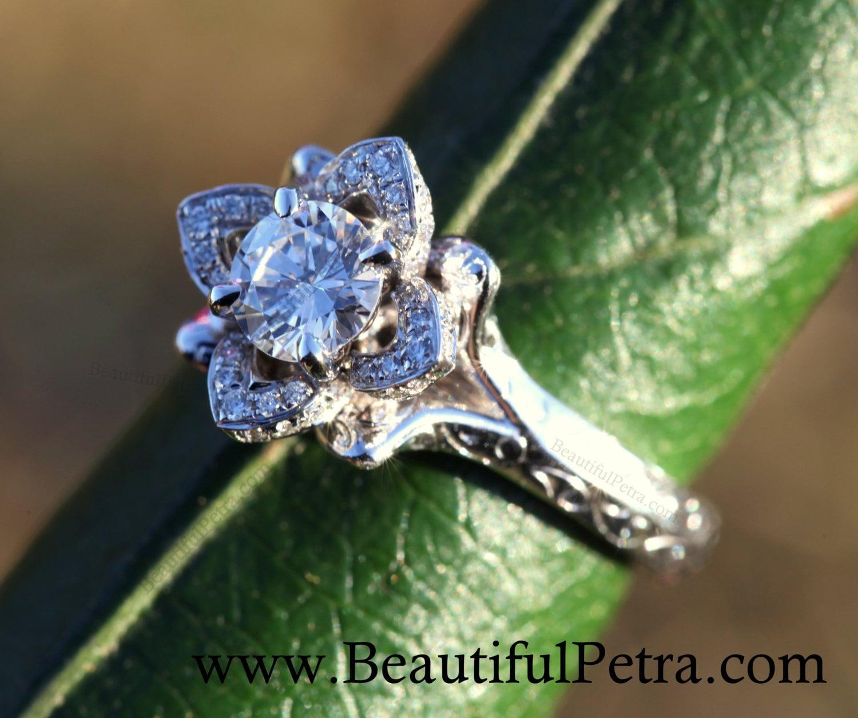 Engraved unique flower rose lotus blooming diamond engagement zoom izmirmasajfo Choice Image