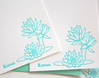 Personalized Lotus Letterpress Stationery Aqua Blue