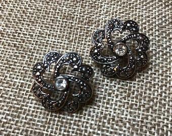 Antiqued Faux Marcasite Earrings