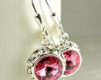 Pink Crystal Earrings, Rose Swarovski, Round Silver Rhinestone, Drop Bridesmaids Earrings, Bridal Jewelry, Spring Wedding