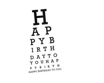 Eye Chart Card.Happy Birthday.Eye Chart.Eye Chart Card.Paper Goods.Eye Exam.Eye Test.Eyes.Site.Vision.Optometrist.Eye Doctor. by Yvonne4eyes