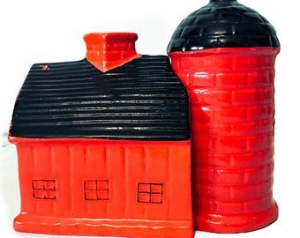 Vintage red barn with silo salt and pepper shakers