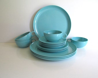 Vintage Turquoise Melamine Plastic Dishes, Four Place Settings, Pastel Melmac Dishes, Mid Century Modern