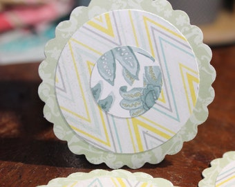 12 Handmade Circle Tags - Scallop Edge - Collage Chevron Pattern - Cardstock - Gift Tags