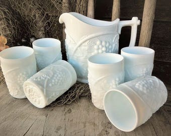 Vintage Milk Glass Water Cider 7 piece Set Pitcher & Tumblers Grape Duncan and Miller US Glass Palm Beach pattern