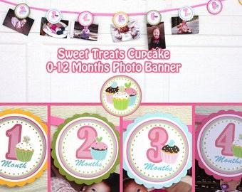 Cupcake Photo Banner Birthday Party Sweet Treats Cupcake Party 0-12 Months Cupcake Banner -  Girl 1st Birthday  Digital File  DIY Printable