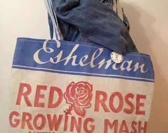 vintage Eshelman RED ROSE feed sack Tote - Plain & Simple