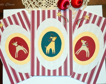 Set of Three Handmade Folded Reindeer Christmas Holiday Greeting Cards Green and Red Cards with Envelopes