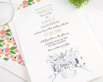 L'Auberge Del Mar Wedding Invitations  (Sold in Sets of 10 Invitations, RSVP Cards + Envelopes)