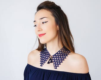 Peter Pan Collar Lace Collar Navy Blue Collar Vintage Collar Tassel Necklace Gift For Her Sister Gift Birthday Gift Inspirational/ SILLA
