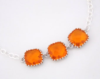 Orange Bracelet, Glass Bracelet, Tangerine, Sterling Siver Bracelet, Carnelian, Wedding Jewelry, Bridesmaids Bracelet, Bridesmaid Gifts