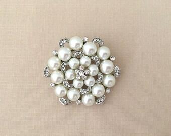 Art Deco Brooch.Rhinestone Pearl Brooch.Silver Brooch.Vintage Style.Art Deco Pin.Silver Pearl.Rhinestone Pearl.Edwardian Style.Pearl Broach