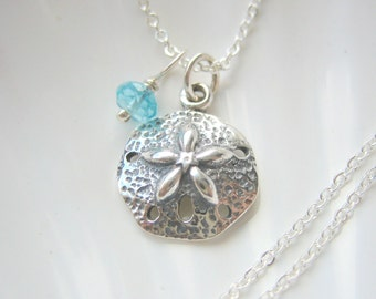 Silver Sand Dollar and Birthstone Necklace - Gemstone - Sterling Silver - Personalized