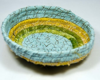 """Coiled Fabric Basket, Coiled Fabirc Bowl,  Catch All Basket, Trinket Basket, 5"""" x 5"""" at Base  Measures  1 1/2"""" Deep"""